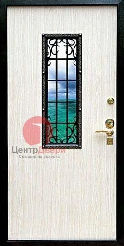 Стальная дверь с ковкой и стеклом СК4