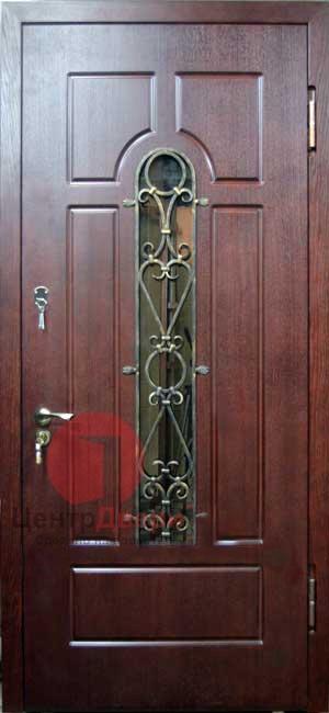 Стальная дверь с ковкой и стеклом СК45