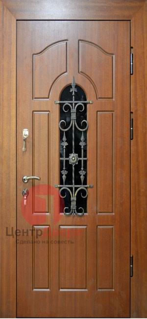 Стальная дверь с ковкой и стеклом СК50