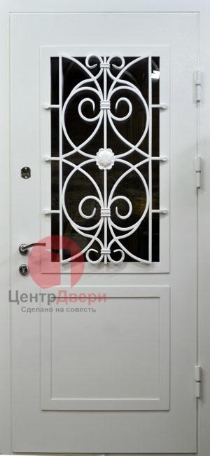 Стальная дверь с ковкой и стеклом СК58