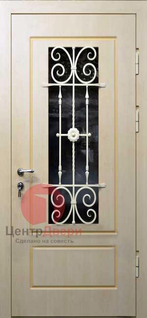 Стальная дверь с ковкой и стеклом СК44