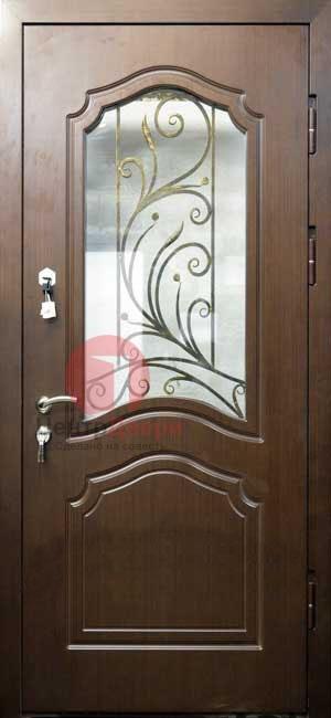 Стальная дверь с ковкой и стеклом СК14