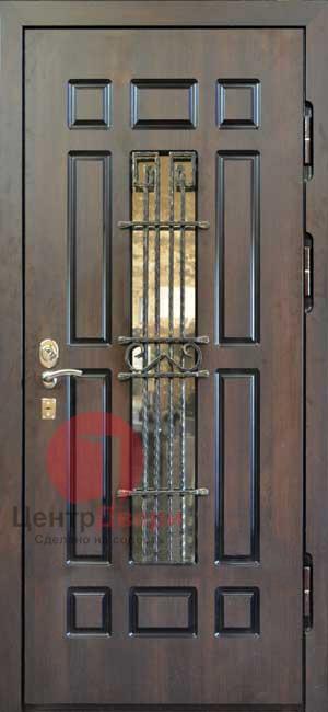 Стальная дверь с ковкой и стеклом СК47