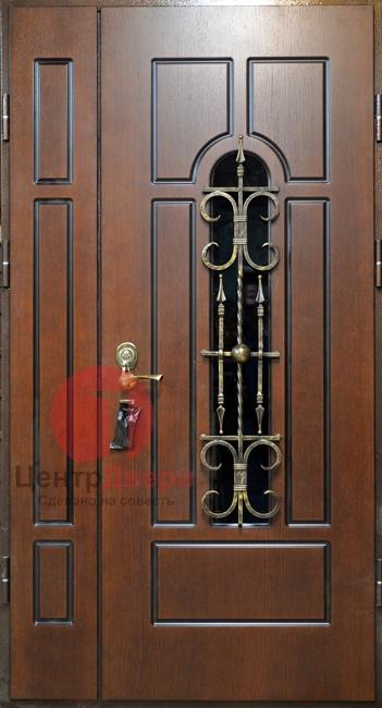Стальная дверь с ковкой и стеклом СК55