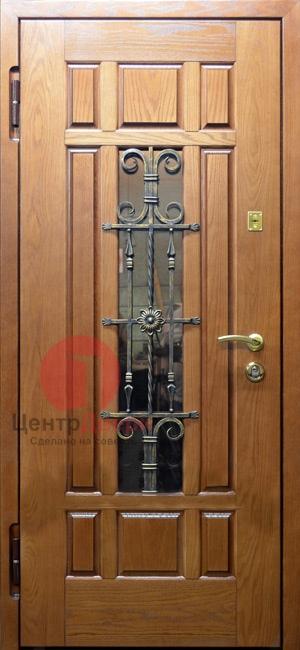 Стальная дверь с ковкой и стеклом СК52