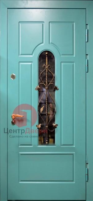 Стальная дверь с ковкой и стеклом СК59