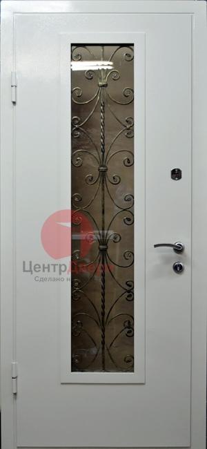 Стальная дверь с ковкой и стеклом СК12