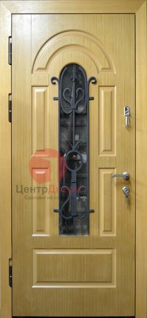 Стальная дверь с ковкой и стеклом СК13