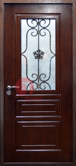 Стальная дверь с ковкой и стеклом СК9