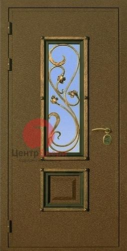 Стальная дверь с ковкой и стеклом СК3