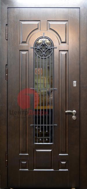 Стальная дверь с ковкой и стеклом СК11