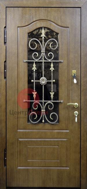Стальная дверь с ковкой и стеклом СК15