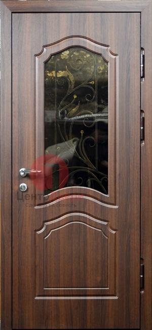 Стальная дверь с ковкой и стеклом СК16
