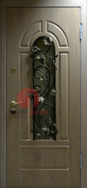Стальная дверь с ковкой и стеклом СК17
