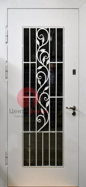 Стальная дверь с ковкой и стеклом СК18