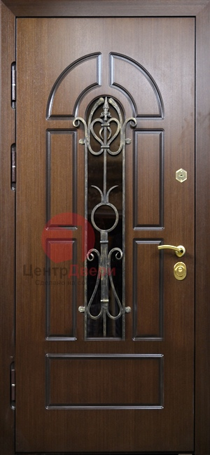 Стальная дверь с ковкой и стеклом СК20