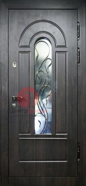 Стальная дверь с ковкой и стеклом СК21