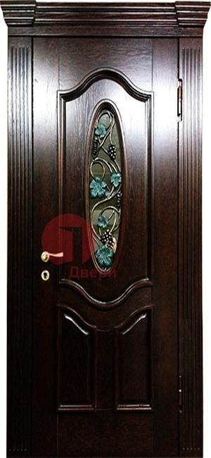 Стальная дверь с ковкой и стеклом СК23