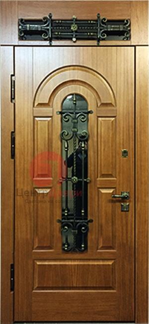 Стальная дверь с ковкой и стеклом СК24