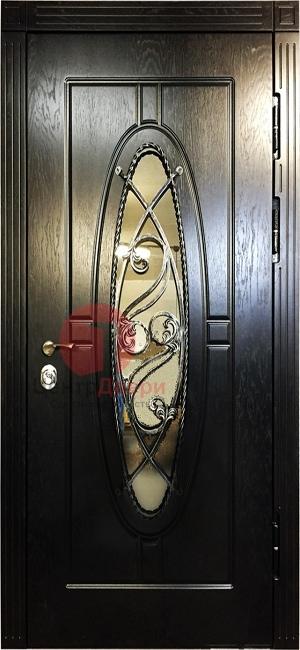 Стальная дверь с ковкой и стеклом СК25