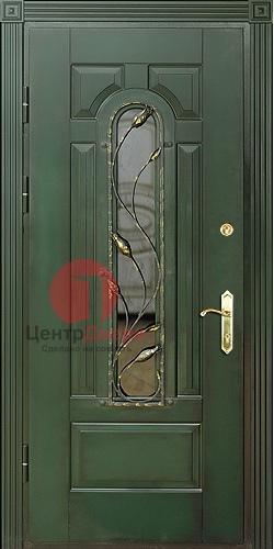 Металлическая дверь с ковкой и витражом