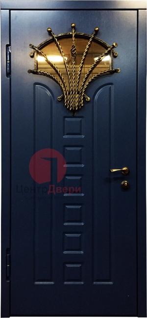 Стальная дверь с ковкой и стеклом СК26