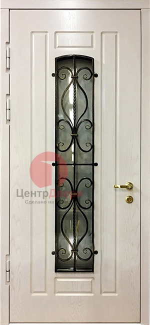 Стальная дверь с ковкой и стеклом СК27