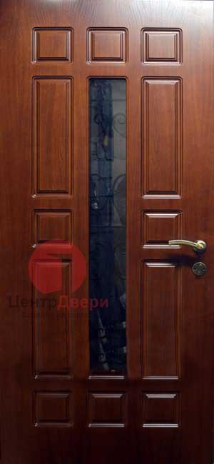 Стальная дверь с ковкой и стеклом СК53