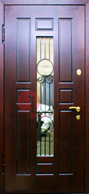 Стальная дверь с ковкой и стеклом СК28