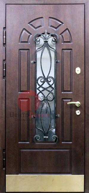 Стальная дверь с ковкой и стеклом СК29