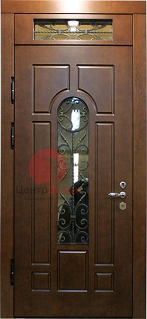 Стальная дверь с ковкой и стеклом СК30