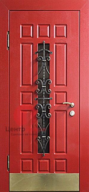 Стальная дверь с ковкой и стеклом СК31