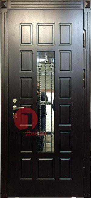 Стальная дверь с ковкой и стеклом СК32