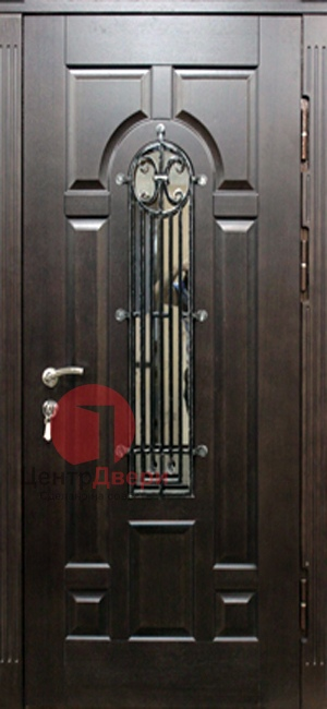 Стальная дверь с ковкой и стеклом СК34