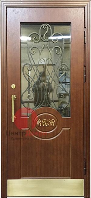 Стальная дверь с ковкой и стеклом СК35