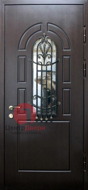 Стальная дверь с ковкой и стеклом СК36