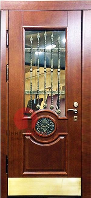 Стальная дверь с ковкой и стеклом СК37