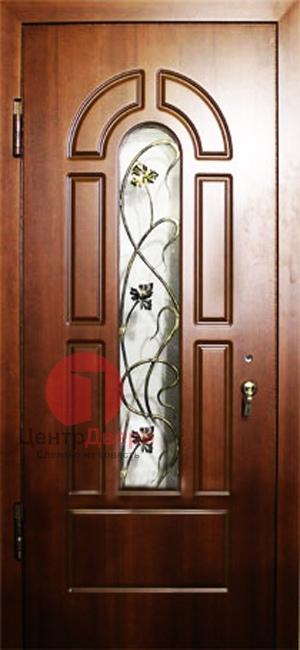 Стальная дверь с ковкой и стеклом СК38