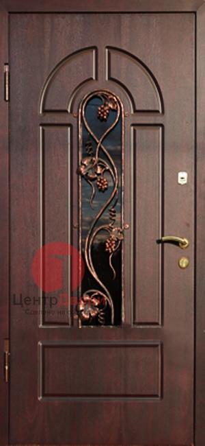 Стальная дверь с ковкой и стеклом СК39