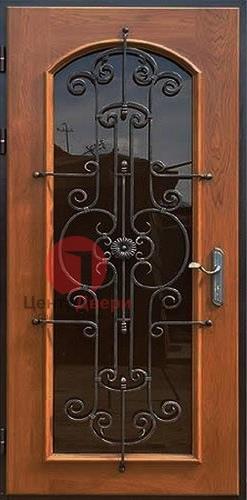 Стальная дверь с ковкой и стеклом СК5