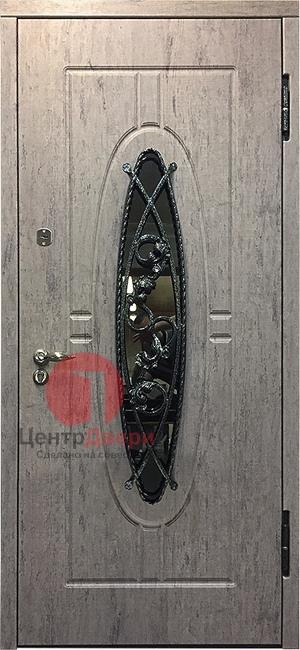 Стальная дверь с ковкой и стеклом СК40