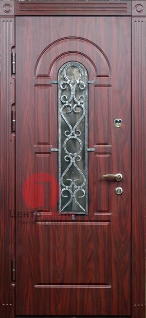 Стальная дверь с ковкой и стеклом СК41