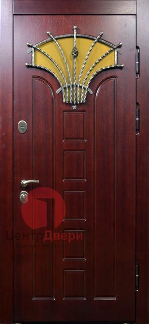 Стальная дверь с ковкой и стеклом СК42